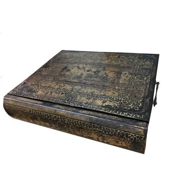 19th Century Chinoiserie Black Lacquer Box in the Form of a Book For Sale - Image 4 of 5