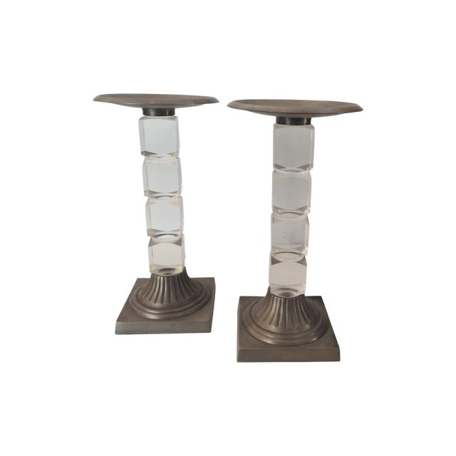 Hollis Jones Style Lucite Candle Holders - Pair - Image 1 of 5