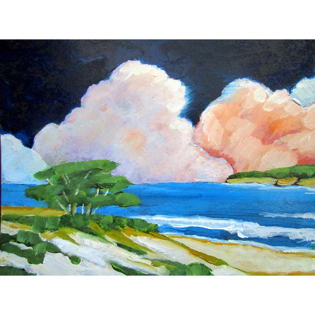 Original oil painting Carmel California Monterey Bay Pacific Ocean seascape landscape by Lynne French. The signed small...