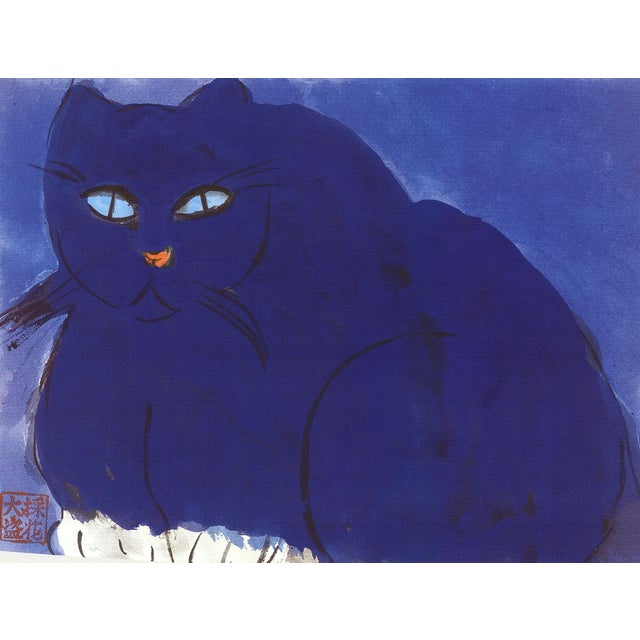 """Artist: Walasse Ting Medium: Lithograph Title: Blue Cat Size: 24"""" x 20"""" Walasse Ting was an American-Chinese artist known..."""