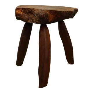 Rustic Free Form Burlwood Stool For Sale