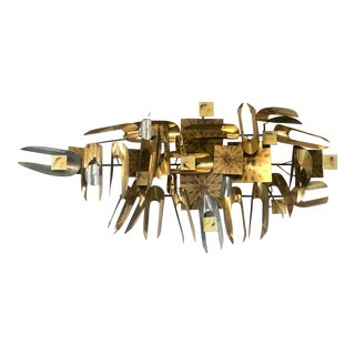 William Vose Mid-Century Brass Wall Art Sculpture For Sale
