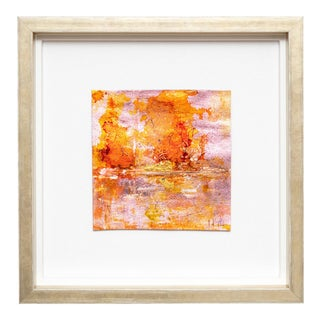 Orange Metallic Landscape Leatherette 2 Painting For Sale