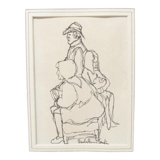Pen & Ink Group Portrait by Charles H. Tomlin For Sale