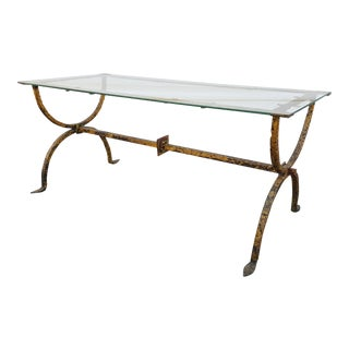1940s Hand Forged Metal and Glass Coffee Table For Sale