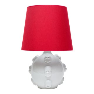 Handmade White Body With Human Faces Ceramic Lamp With Red Shade For Sale
