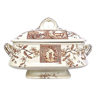 Antique Floral & Scenic Transferware Tureen For Sale
