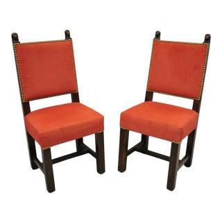 Antique Renaissance Revival Carved Walnut Figural Lion Head Side Chairs- A Pair For Sale