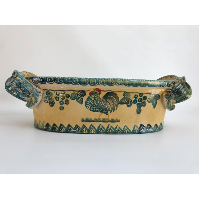 Large vintage Italian hand-crafted and hand-decorated oval jardiniere in rich colors of golden yellow and turquoise...