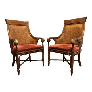 Drexel Heritage Rattan Bamboo Club Chairs - Pair For Sale