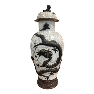 Chinese Qing Dynasty White Crackle Vase For Sale