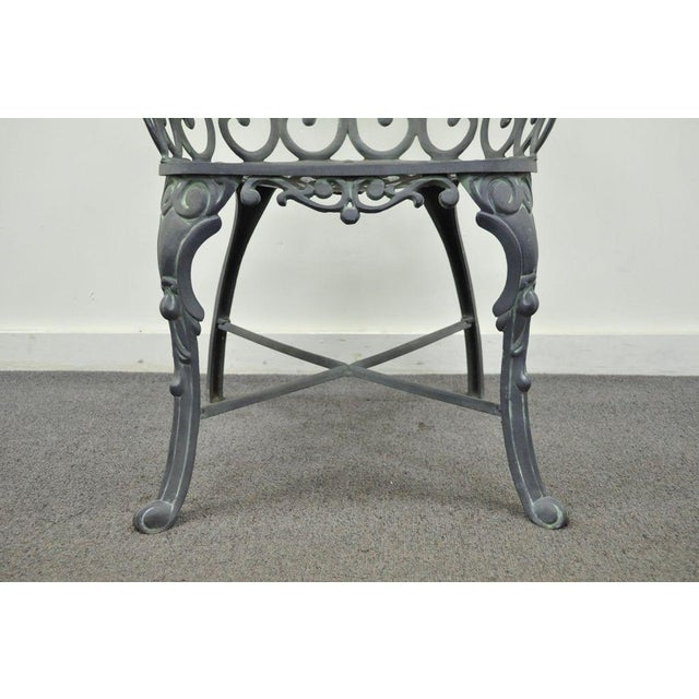 Gray Vintage Cast Aluminum Heart Back French Style Patio Chairs - Set of 4 For Sale - Image 8 of 11