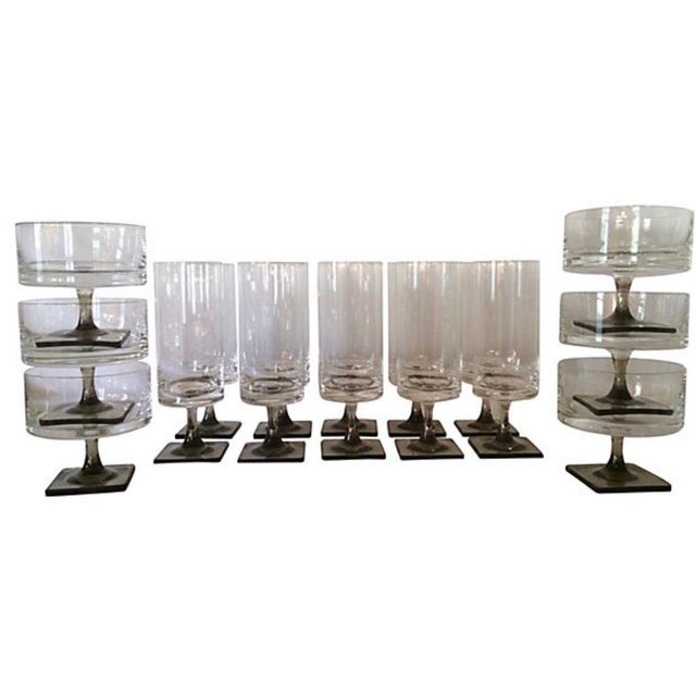 Mid-Century Modern Vintage Mid-Century Modern Rosenthal Linear Stemware - Set of 16 For Sale - Image 3 of 6