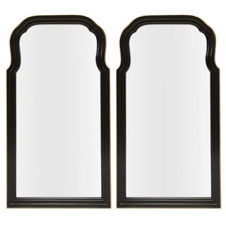 Pair of Hand Painted Black and Gold Scalloped Shape Mirrors
