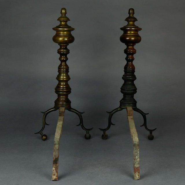 1930 American Federal Philadelphia Style Brass Beehive Fireplace Andirons - a Pair For Sale - Image 4 of 5