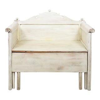 Swedish Painted Storage Bench Circa 1900 For Sale