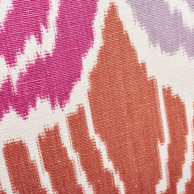 Early 21st Century Schumacher Kimono Ikat Pillow in Berry For Sale - Image 5 of 6