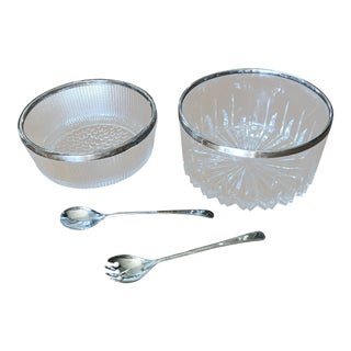 Italian Crystal Bowls and Serving Spoons - 4 Pc. Set For Sale