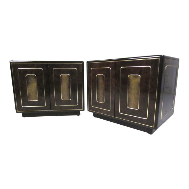 Pair of Mid-Century Brass and Burl Nightstands by Bernhard Rohne For Sale