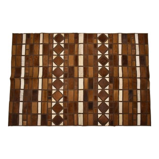 "Handmade Cowhide Patchwork Area Rug Square Brown - 5'3""x8'0"" For Sale"