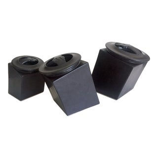 Vintage Modernist Vestweber Earthworks Studio Pottery Square Stoneware Black Ceramic Canisters - Set of 3 For Sale