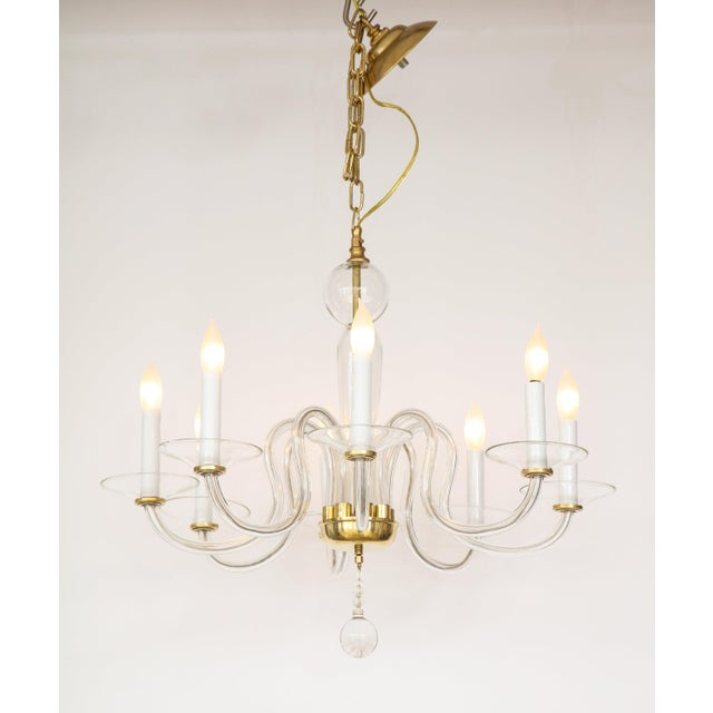 Mid-Century Modern 1960s Murano Glass Eight Arm Chandelier For Sale - Image 3 of 11