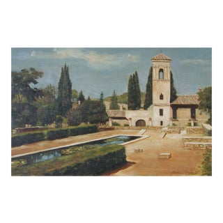 "Icyda Framed Architectural Painting ""Courtyard at the Alhambra"" For Sale"