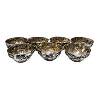 Samurai Shokai Japanese Pure Silver Iris Motif Bowls - Set of 7 For Sale
