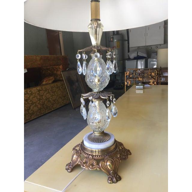 Vintage Hollywood Regency Bronze & Glass Table Lamp - Image 4 of 6