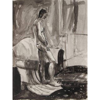 Jack Freeman Monochromatic Expressionist Interior With Figure Ink Drawing, 1976 For Sale