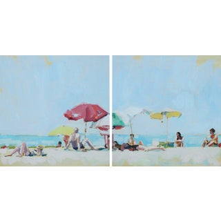 Beach Day Diptych Painting For Sale