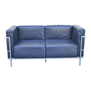 Modern Le Corbusier Lc3 Style Faux Leather Black Vinyl Loveseat Sofa by Kinetic For Sale