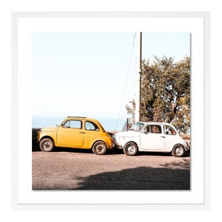 Positano Auto by Natalie Obradovich in White Framed Paper, Medium Art Print For Sale