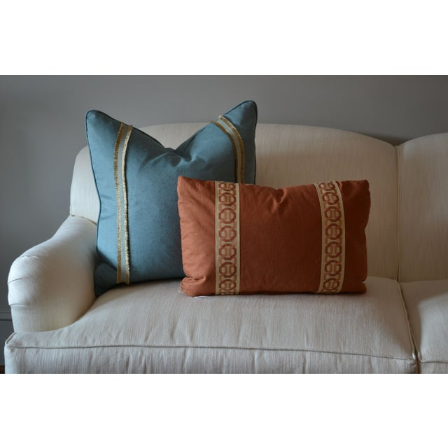 14 x 20 Rust Lumbar Pillow with Kravet Accent Tape - Image 3 of 4