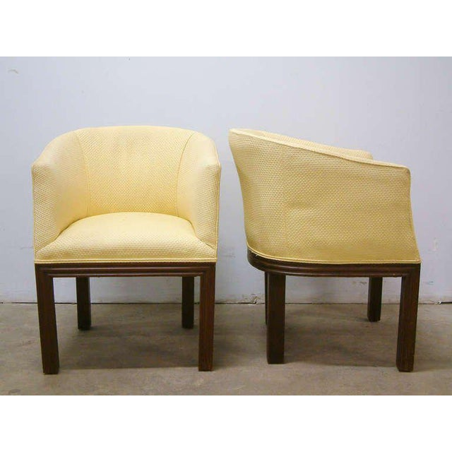Circa 1950 Mid-Century Upholstered Yellow Arm Chairs - Pair For Sale In Richmond - Image 6 of 11