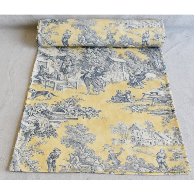"Custom tailored 110"" long table runner created from a vintage/never used toile fabric. Runner is one continuous piece of..."
