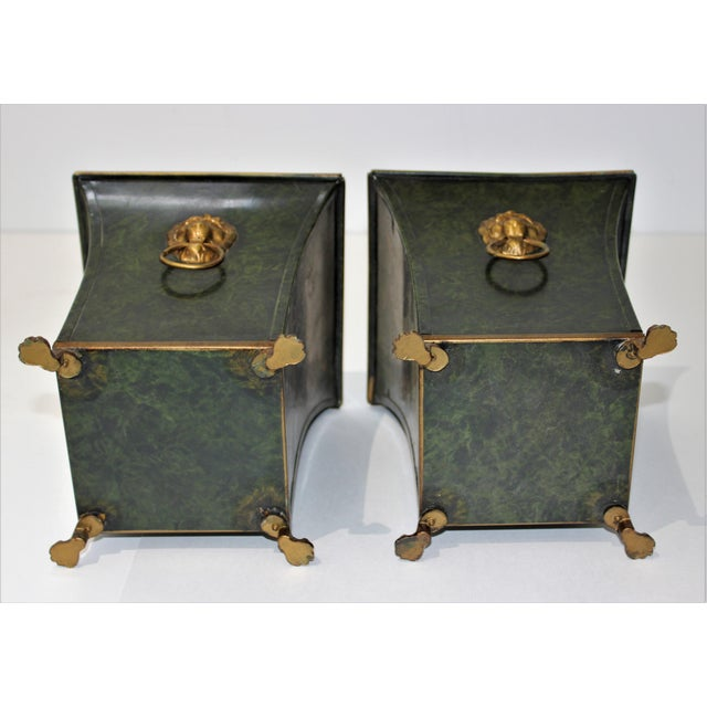 Green Vintage Dark Green Cachepot With Lion Handles - a Pair For Sale - Image 8 of 10