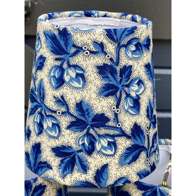 French Country Antique Blue Floral Fabric Chandelier Shades For Sale - Image 3 of 5