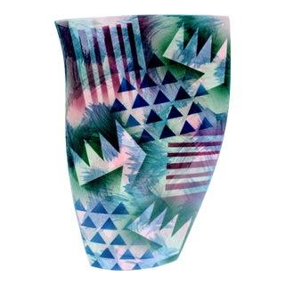 1990s Vintage Memphis Style John Bergen Ceramics Studio Organic-Shaped Pottery Vase For Sale