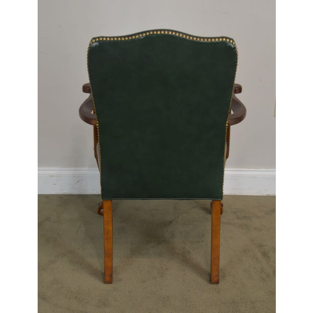 South Mark Green Leather Chippendale Style Ball & Claw Pair Armchairs (A) For Sale In Philadelphia - Image 6 of 12