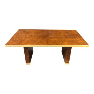 Extendable Burlwood and Brass Dining Table Signed Pierre Cardin For Sale