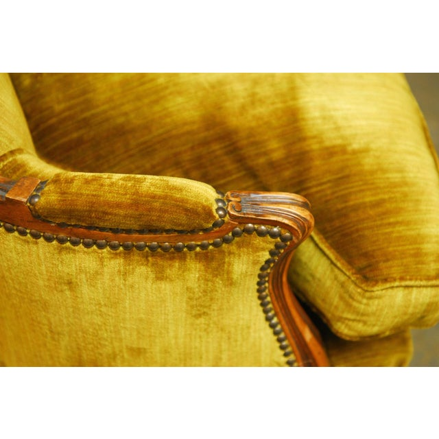 Louis XV Handcarved Topaz Velvet Bergeres - A Pair - Image 6 of 8