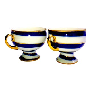 Vintage Imperial Russian Pedestal Cobalt Swirl Bone China Teacups - a Pair For Sale