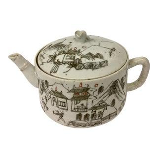 Antique Chinese Porcelain Tea Pot For Sale
