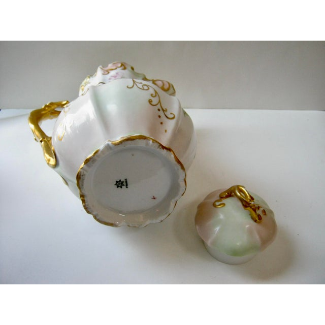 Late 19th Century Antique Late 19th Century Limoges France Hand Painted Apple Blossom Chocolate / Cocoa Pot For Sale - Image 5 of 7