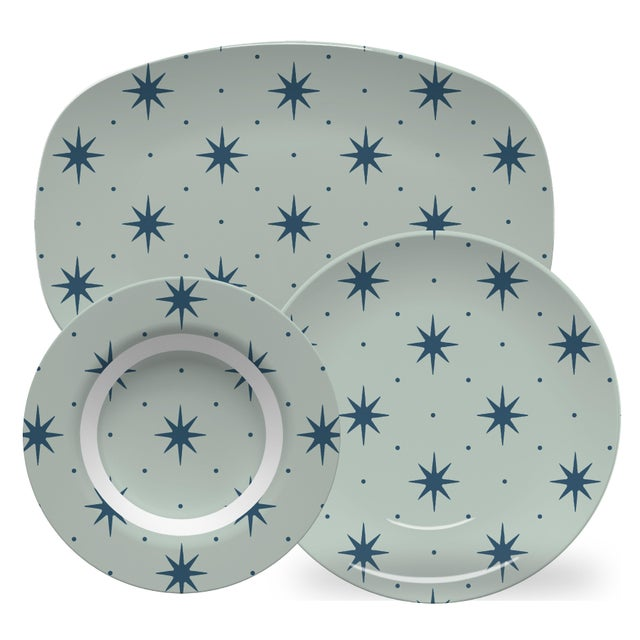 American Chairish x The Muddy Dog Stars Outdoor Plates, Mist, Set of 6 For Sale - Image 3 of 4