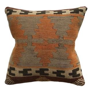 20th Century Turkish Burnt Orange and Brown Wool Kilim Pillow - Small