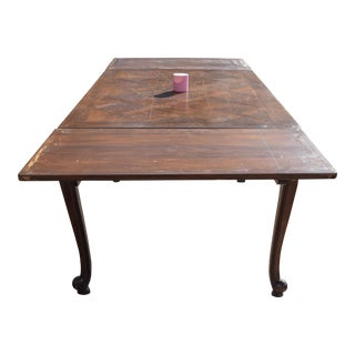 French Country Small Parquetry Oak Refractory Table For Sale