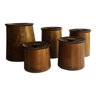 Mid-Century Teak Containers - Set of 5