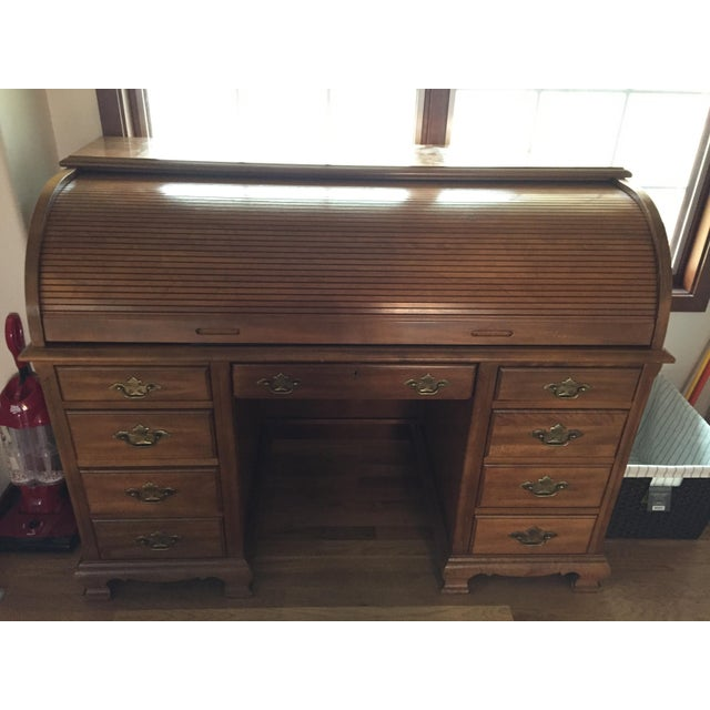 Wooden Roll Top Desk - Image 2 of 3